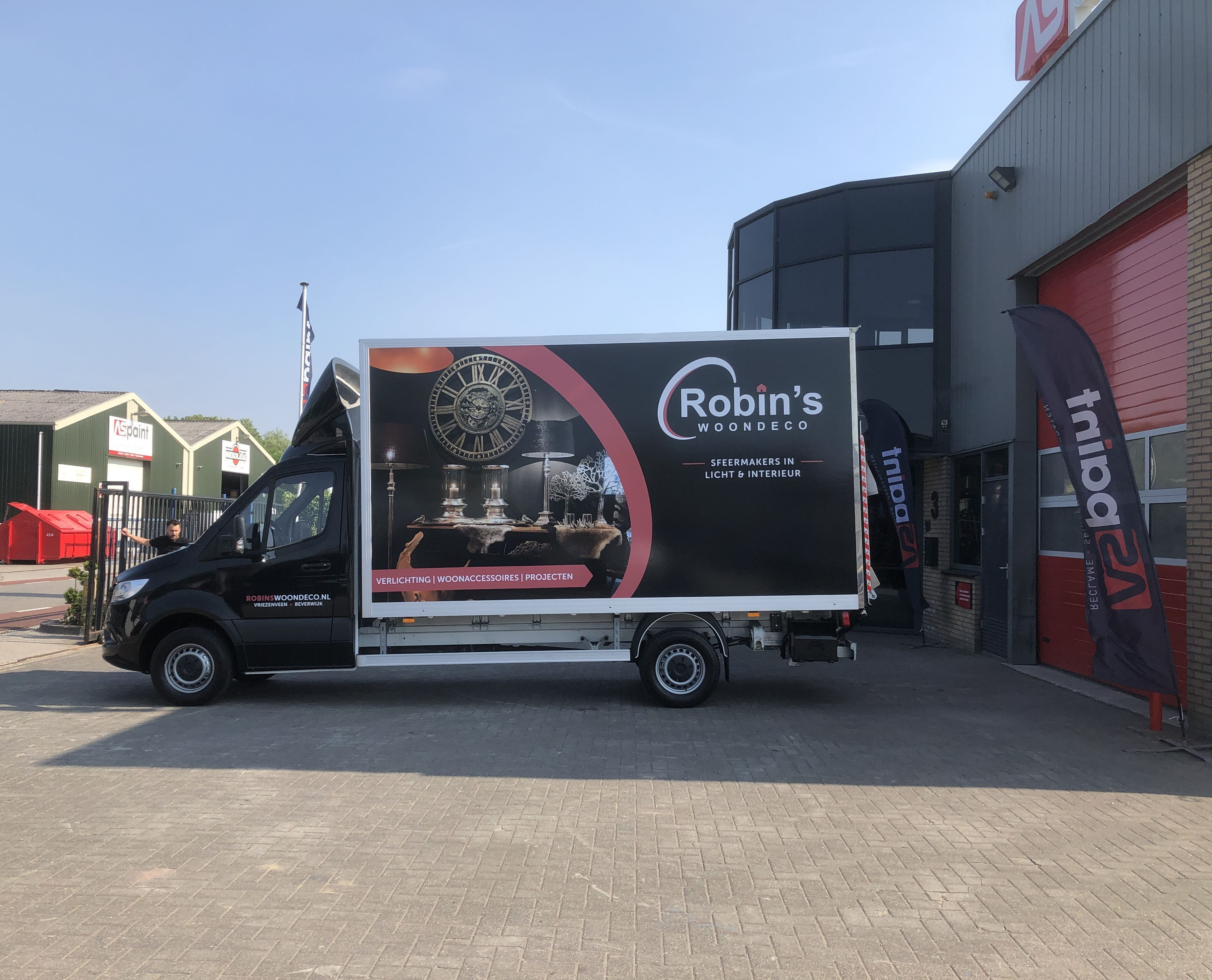 Carwrap, sign, full color print, reclame, autobelettering, voertuigbelettering, AS Paint, Robin's woondeco, Vriezenveen, Twente