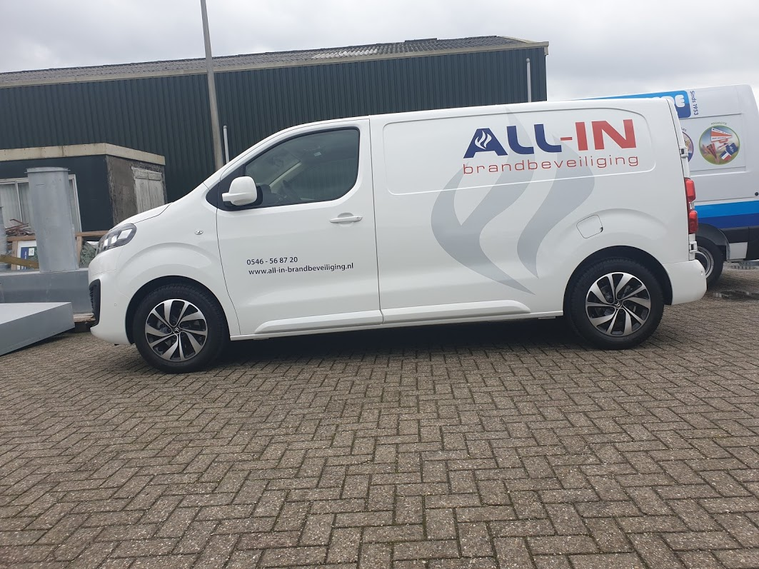 All-In Brandbeveiliging, All-In, Vriezenveen, Belettering, Reclame, AS, AS Paint, Brand, Beveiliging, Reflecterend, Snijfolie